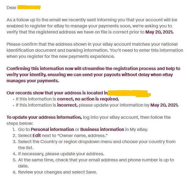 Дедлайн по ebay managed payments - 20 мая