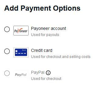 Предлагает добавить либо Пионер для выплат, либо карту для оплаты покупок или селлер фис, или PayPal для оплаты покупок