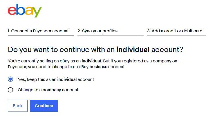 eBay - я предпочел остаться на индивидуальном аккаунте