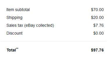 ebay fees на примере продажи в 90 долларов для штата NY и приема платежей через Payoneer